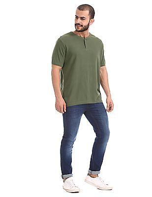 Cherokee Green Slim Fit Henley T-Shirt