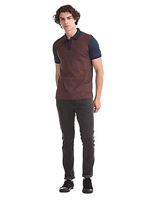 Arrow Newyork Orange And Navy Patterned Polo Shirt