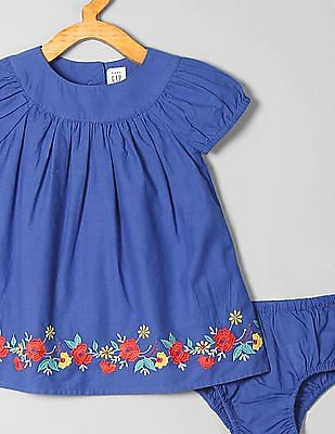 GAP Baby Embroidered Puff-Sleeve Dress