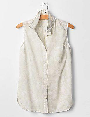 GAP Women White Floral Sleeveless Shirt