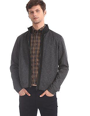 Arrow Sports Grey High Neck Patterned Jacket