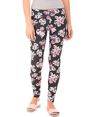 Aeropostale Floral Print Cotton Spandex Leggings