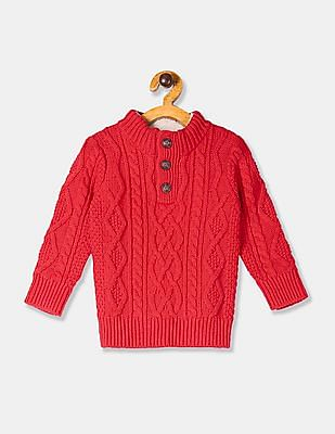 GAP Red Toddler Boy Mock Neck Cable Knit Sweater
