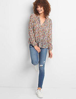 GAP Ruffle Hem Floral Print Blouse