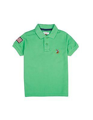U.S. Polo Assn. Kids Boys Flag Embroidery Pique Knit Polo Shirt