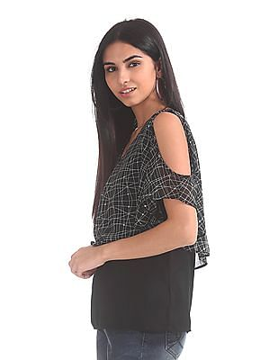 Elle Studio Printed Cold Shoulder Top