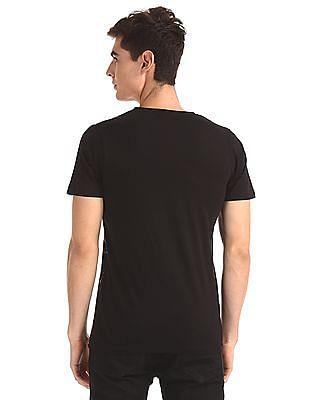 Flying Machine Black Printed Crew Neck T-Shirt
