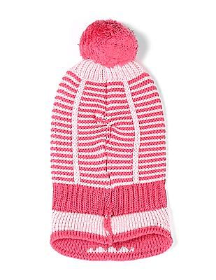 Unlimited Pink Girls Upturned Hem Patterned Knit Beanie