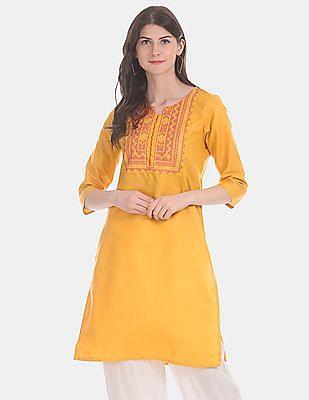 Karigari Women Yellow Embroidered Partywear Kurta