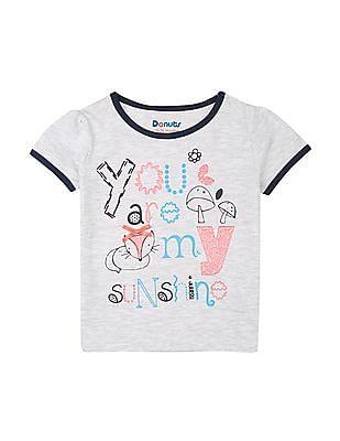 Donuts Girls Melange Contrast Trim T-Shirt