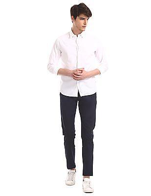 Flying Machine White Slim Fit Solid Shirt