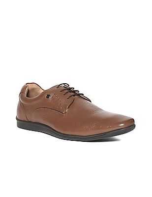Arrow Brown Textured Leather Derby Shoes