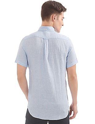 Gant The Linen Pinstripe Regular Short Sleeve Button Down Shirt