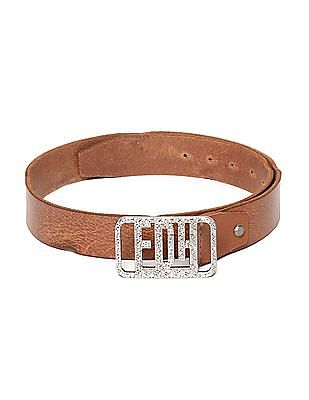 Ed Hardy Brown Textured Pin Buckle Leather Belt