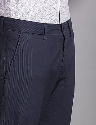 True Blue Blue Cropped Pinstripe Trousers