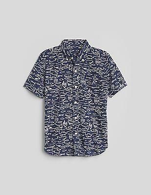 GAP Boys Blue Short Sleeve Button-Down Shirt In Poplin