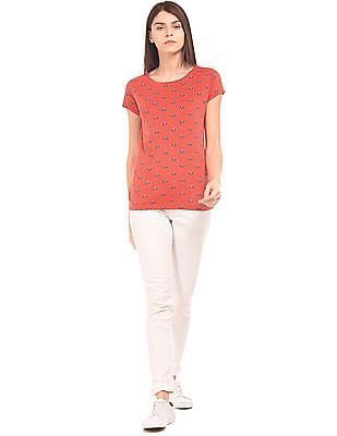 U.S. Polo Assn. Women Round Neck Printed T-Shirt