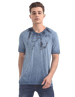 Cherokee Regular Fit Printed Slubbed T-Shirt