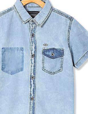 Cherokee Boys Stone Wash Short Sleeve Shirt