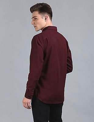 GAP Men Red Pattern Oxford Shirt In Stretch