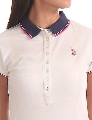 U.S. Polo Assn. Women Standard Fit Polo Collar A-Line Dress