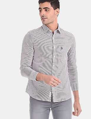 U.S. Polo Assn. Men White And Brown Vertical Stripe Cotton Shirt