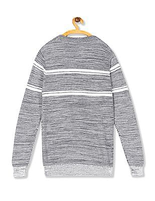 Cherokee Grey Striped Crew Neck Sweater