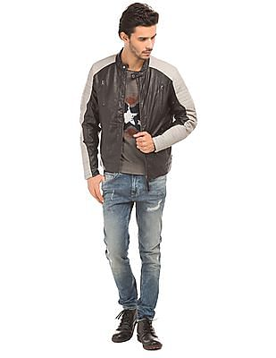 Ed Hardy Quilted Panel Biker Jacket