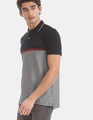 GAP Black Patterned Knit Pique Polo Shirt