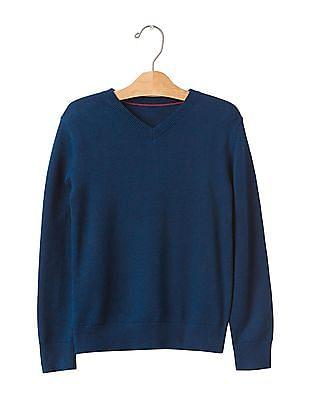 GAP Boys Blue Solid V-Neck Sweater