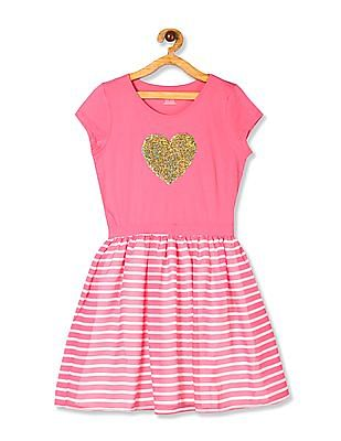 The Children's Place Pink Girls Flippy Sequin Striped Dress