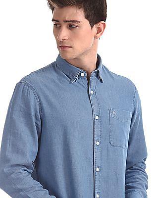 Arrow Sports Blue Slim Fit Chambray Shirt