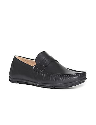 Arrow Square Toe Leather Slip-On Shoes