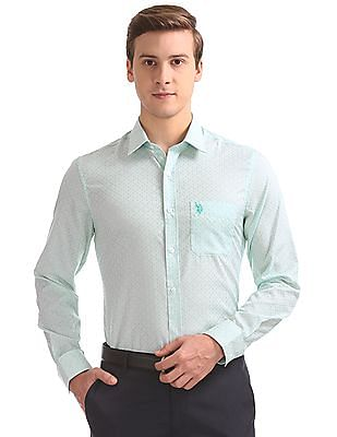 USPA Tailored Regular Fit Jacquard Shirt