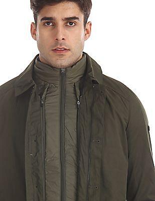 Arrow Sports Green Twill Jacket With Detachable Gilet Jacket