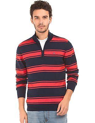 Arrow Sports Striped High Neck Sweater
