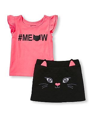 The Children's Place Toddler Girl Short Ruffle Sleeve Glitter 'Meow' Top And Quilted Cat Skirt Set