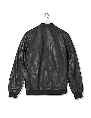 Arrow Newyork Panelled Genuine Leather Bomber Jacket