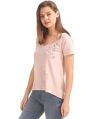 Aeropostale V-Neck Printed Top