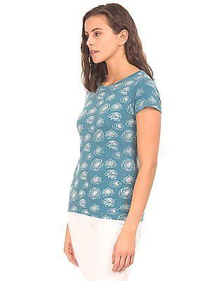 Flying Machine Women Rose Printed Heathered T-Shirt