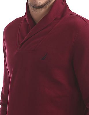 Nautica Shawl Neck Solid Sweatshirt