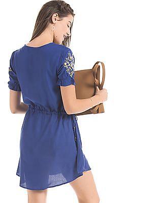Bronz Drawstring Waist Dress