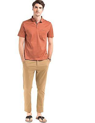 True Blue Printed Trim Regular Fit Polo Shirt