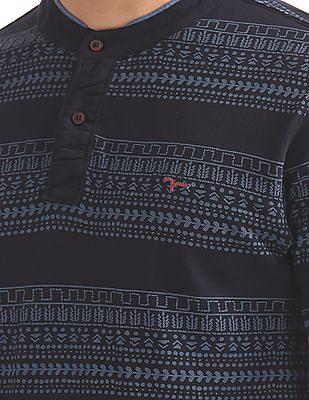 Flying Machine Mandarin Collar Printed Polo Shirt