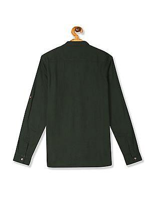 U.S. Polo Assn. Kids Green Boys Mandarin Collar Dobby Shirt