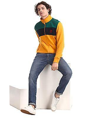 U.S. Polo Assn. Yellow High Neck Colour Block Sweatshirt