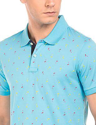 Arrow Sports Martini Print Cotton Polo Shirt