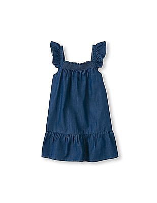 The Children's Place Toddler Girl Sleeveless Ruffle Strap Chambray Flare Dress