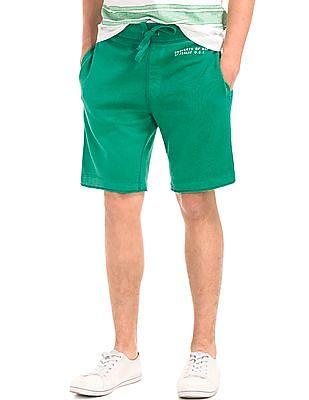 GAP Men Green Sun Wash Stencil Logo Active Shorts