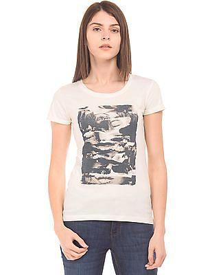 Flying Machine Women Graphic Print Cotton T-Shirt